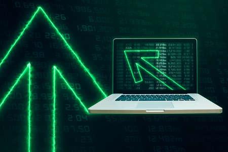 green arrows: Modern Laptop with Green arrows tending upwards