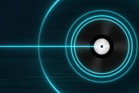 Clásicos discos de vinilo negro con la luz azul - concepto de la música electrónica Foto de archivo