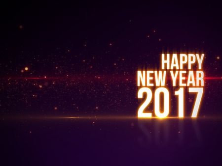 happy new year 2017 text with beautiful colorful light and particles with reflection luxury background