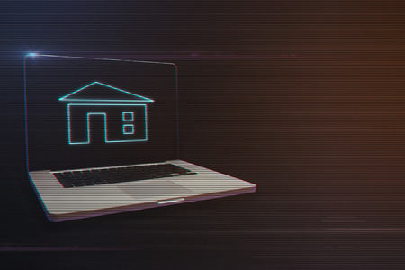 Laptop with Home Icon on Light Motion Background and Lens Flare - Digital 3d Effect Style Color