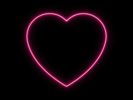 Neon Light Heart Icon on Black Background