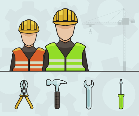 building site: Two Industrial Workers with Cranes and Tools - Vector illustration Design