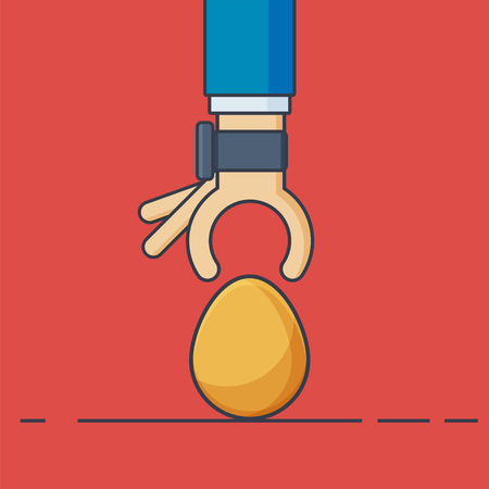 priceless: Businessman Hand with Smartwatch and Gold Egg - Vector Illustration