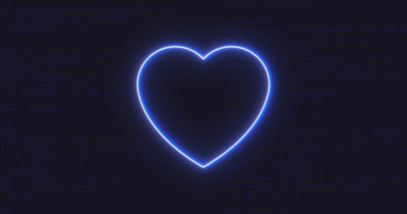 Futuristic Interface Heart Icon on Computer code running Background