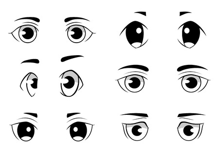 anime eyes: Set of anime style eyes isolated on white background. Front and side view