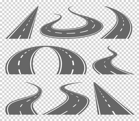 curved road: Winding curved road or highway with markings. Direction, transportation set. illustration on transparrent background