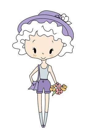 Ilustración de la pequeña muñeca de la muchacha. Niña con las flores