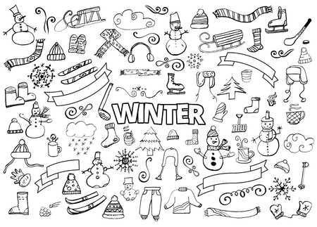 hot drinks: Winter doodles collection. Stylish design elements. Snowman, Snowflakes, Skies, scarf hot drinks Coffee Late Illustration