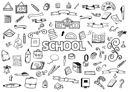 ellements: school doodles items. Back to School. illustration. Set of design ellements