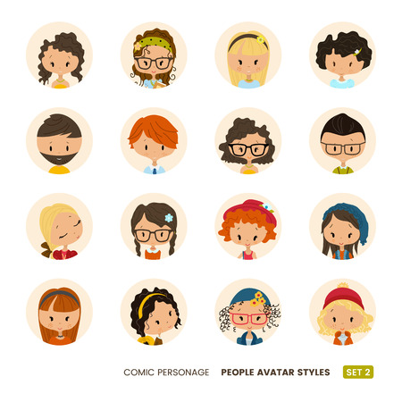 indian professional: People avatars collection. Comic personage. Girls and boys. Hipster hairdo look