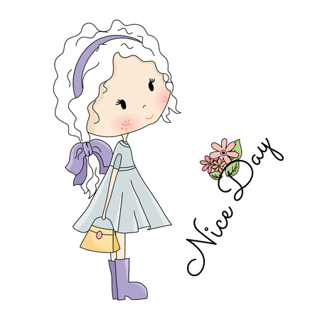 Doll Illustration. Beautiful Little Girl with Bag in her Hands on white background Illustration