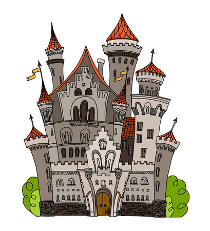 fable: Cartoon fairy tale castle tower icon. Cute cartoon castle architecture. Vector illustration fantasy house fairytale medieval castle.  stronghold design fable isolated.