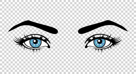 lashes: Vector blue female eyes with long lashes and make up. Beautiful girls eyes on transparent background