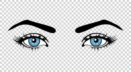 Vector les yeux bleus de la femme avec de longs cils et maquillage. Belle fille regarde sur un fond transparent Vecteurs