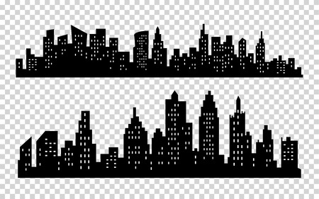 Vector black city silhouette icons set isolated on white background Ilustração