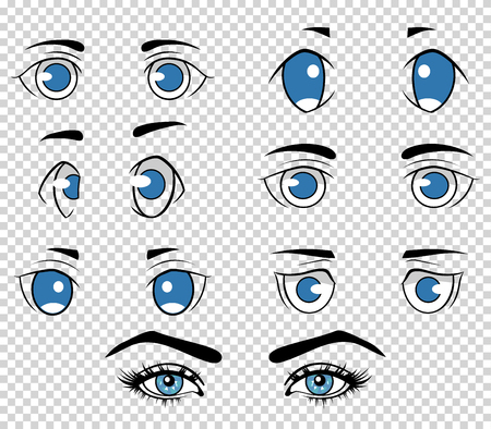 anime eyes: Set of different human and anime eyes, cartoon girl face elements. Vector illustration