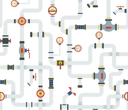 Seamless Stock vector ware pipes system pattern. Flat vector background