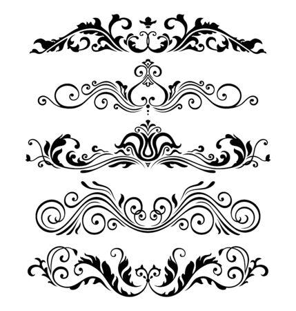 ellements: Retro victorian elements collection for Calligraphic Design. Genuine Floral Frame ellements