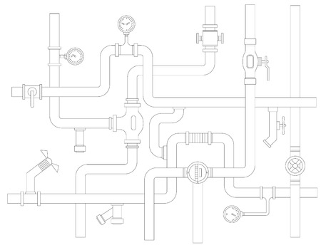 Stock vector ware pipes system concept flat vector illustration
