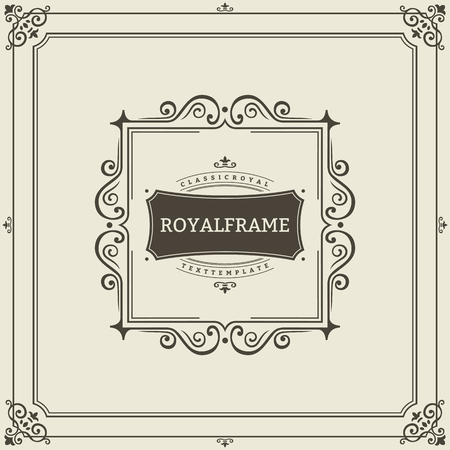 vintage retro frame: Vector Frame Template. Vintage Ornament Greeting Card. Flourishes Ornament Retro.