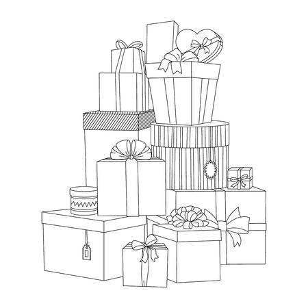 illustrierte: Big pile of wrapped gift boxes. Beautiful box. Gift box. Isolated vector present illustration. Coloring book