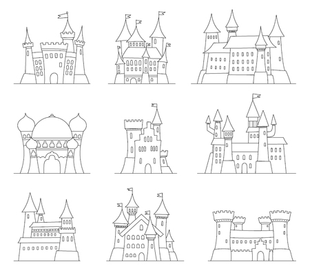 alhambra: Castles and fortresses flat design vector icons. Set of illustrations of ruins.