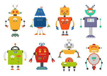 Funny Isolated robot set. Future robots isolated on white. Flat vector illustration set Illustration