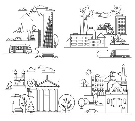 City design elements. Linear style. Vector illustration