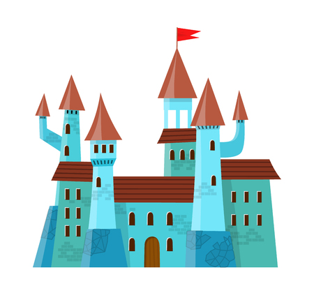 Fairy medieval castle in cartoon style on white background is insulated.