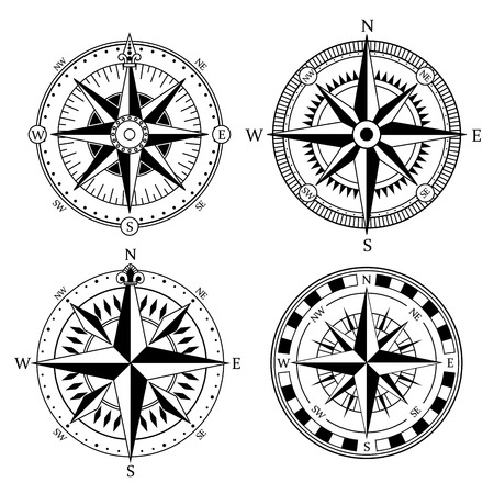 Vintage nautical compass signs vector set, retro direction symbols Illustration