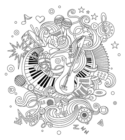 Abstract Music Background, Collage with musical instruments. Hand drawing Doodle, vector illustration