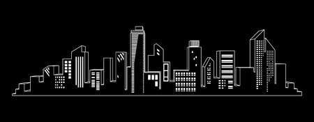 Windows shine on city skylines in black and white. City at the night