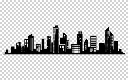 Vector city silhouette. Cityscape vector design Stock Illustratie