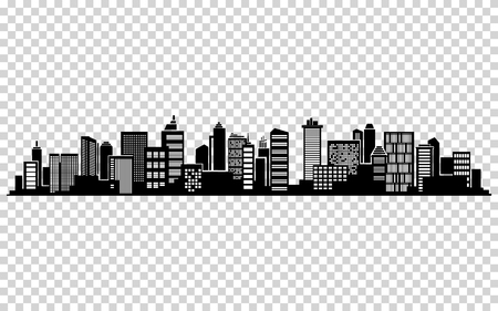 City silhouette illustration.