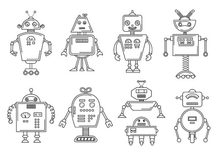Vector illustration of a Robot. Mechanical character design. Set of four different robots. Coloring book page. Ilustrace