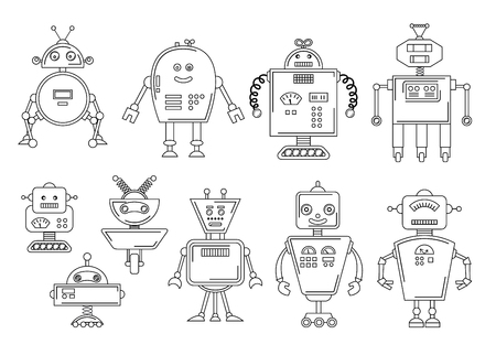 Vector illustration of a Robot. Mechanical character design. Set of four different robots. Coloring book page