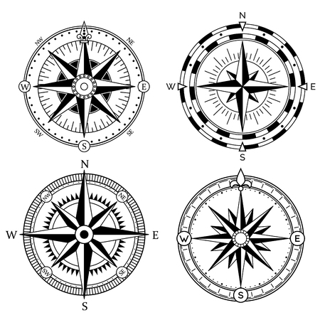 Wind rose retro design vector collection. Vintage nautical or marine wind rose and compass icons set, for travel, navigation design Stock Illustratie