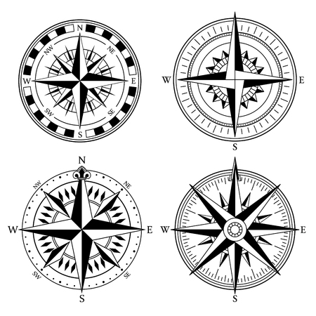 Wind rose retro design vector collection. Vintage nautical or marine wind rose and compass icons set, for travel, navigation design Illustration