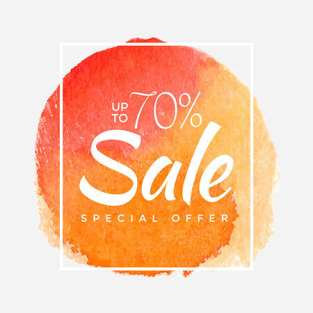 Watercolor Special Offer, Super Sale, Banner, Poster, Pamphlet, Saving Upto 70% Off, Vector illustration with abstract paint stroke