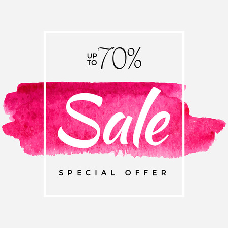 Watercolor Special Offer, Super Sale Banner, Poster, Pamphlet, Saving Upto 70% Off, Vector illustration with abstract paint stroke Çizim