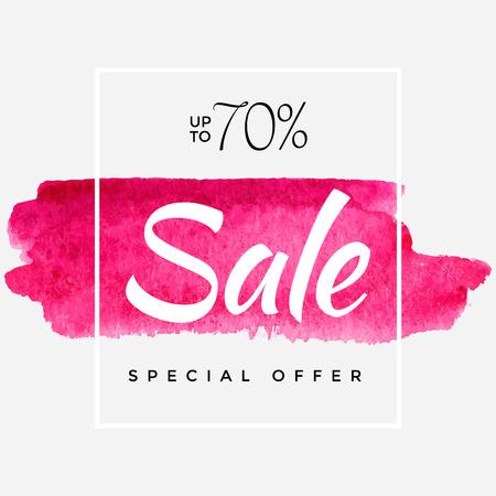 Watercolor Special Offer, Super Sale Banner, Poster, Pamphlet, Saving Upto 70% Off, Vector illustration with abstract paint stroke Ilustração