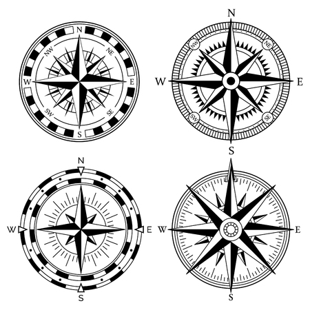 Wind rose retro design vector collection. Illustration