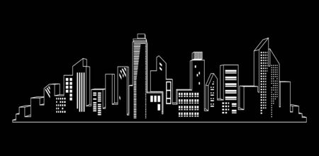 Black vector city silhouette icon set on black. Night city lights. Vettoriali