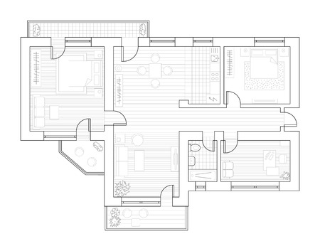 Architecture plan with furniture in top view. Coloring book Vector illustration.