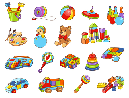 Toy icon collection  vector color illustration of  Kids toys Illustration