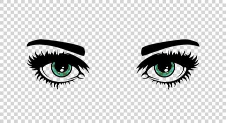 ojos femeninos verdes del vector con largas pestañas y hace la belleza. hermosas mujeres sin fisuras en el fondo transparente