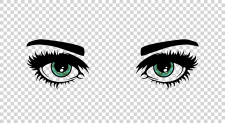 Vector green female eyes with long lashes and make up. Beautiful girls eyes on transparent background