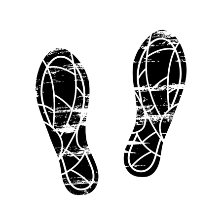 Footprints and shoeprints icon in black and white showing feet and the imprint of the soles with patterns of male and female footwear. Shoes boots imprint Vector Illustratie