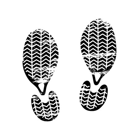 Footprints and shoeprints icon in black and white showing bare feet and the imprint of the soles with patterns of male and female footwear. Shoes boots imprint Ilustrace