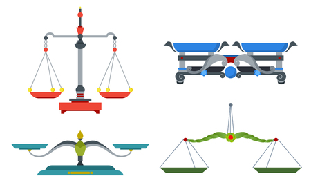 Balance scales with weight and equal pans. Device to measure mass, compare two objects, home and laboratory instrument. Vector flat style cartoon illustration isolated on white background Vektorové ilustrace